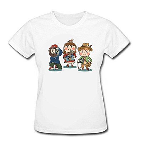 UIZO Women's Cotton T-shirt Tee Fahion Photographers, Sleeve,White,Size XS