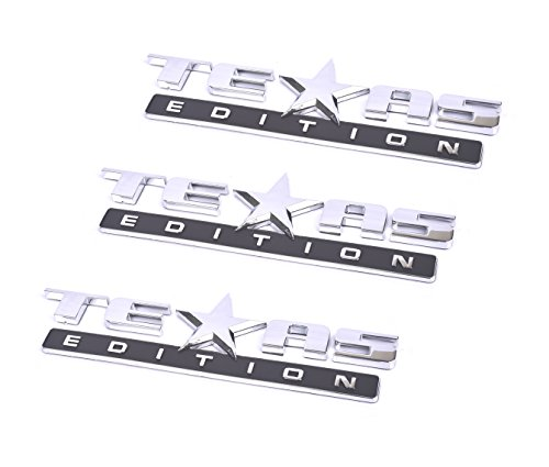 Aimoll 3pcs Texas Edition Emblem, Strong Stick On Emblem Badge Replacement for Chevrolet Sierra 07-17 Silverado and Suburban Tahoe Ford F150 Dodge Ram Nissan Titan Truck ()