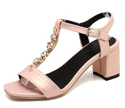 Easemax Moda Mujer Rhinestones Tobillo Hebilla T-strap Open Toe Mid Chunky Tacón Slingback Sandalias Albaricoque