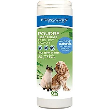 Francodex Repelente en Polvo para Perros y Gatos 150 gr: Amazon.es: Productos para mascotas