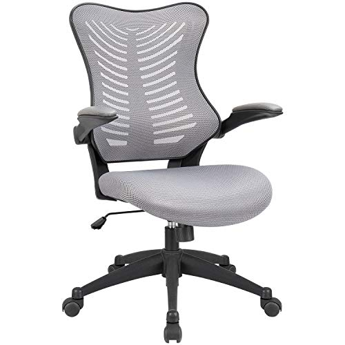 Mid Back Grey Mesh - Office Chair Mid Back Computer Desk Chair with Flip-UP Armrests Ergonomic Swivel Mesh Task Chair with Lumbar Support (Grey)