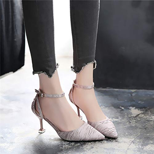 Pointy Heels Heels Baotou Heads Buckles Thirty nine Shoes High Sandals Single And Fashion Joking 7Cm LBTSQ Cats PcFT0HtS0W