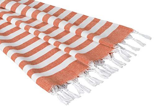 Sandy Beaches 100% Organic Cotton Turkish Towel, Large Beach Towel/Bath Towel, 39x70 (Tangerine)