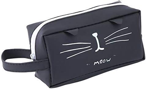 Estuche de lápices Lovely Cartoon Cat Silica Gel Big Capacity con Mango portátil Negro: Amazon.es: Hogar
