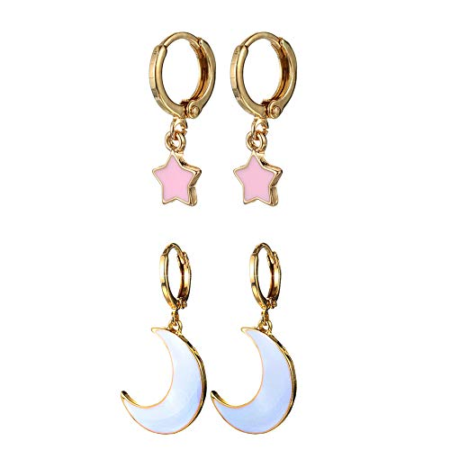 2 Pairs Star Moon Hoop Earrings Pink&White, Small Dangle Earrings for Women/Girls Gold Star Moon Earrings Chic and Simple Jewelry