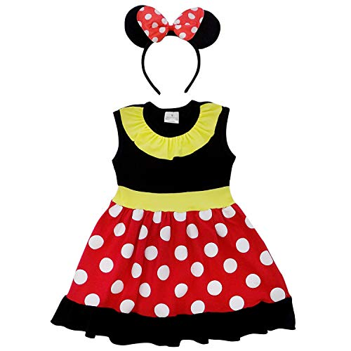 Halloween Costumes Sydney (So Sydney Toddler Girl Soft & Comfy Minnie Dress & Ears Headband Costume Outfit (XXS (12-18 Months), Mouse Red &)