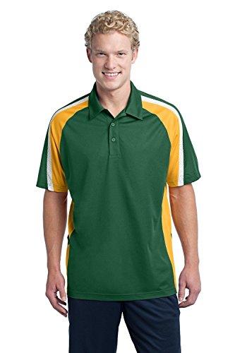 Sport-Tek Men's Tricolor Micropique Sport Wick Polo 3XL Forest Green/Gold/White