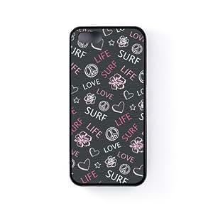 Love Life, Surf - Pink Funda Protectora Snap-On en Silicona Negra para Apple® iPhone 5 / 5s de Gadget Glamour + Se incluye un protector de pantalla transparente GRATIS