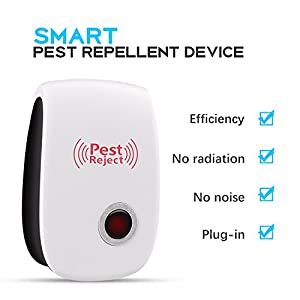 [2018 Upgraded] Ultrasonic Pest Repellent Electronic Mice Repeller, Plug in for Bugs and Insects Mice Ant Mosquito Spider Rodent Roach Child and Pets Safe Control (6 Packs) … (white)