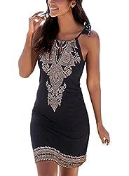 Fiyote Women Summer Halter Neck Floral Print Sleeveless Casual Mini Dress Medium Size Black