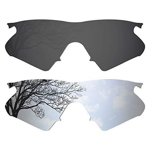 Dynamix Polarized Replacement Lenses for Oakley M Frame Heater - Multiple Options (Solid Black + Titanium, Polarized Enhanced)