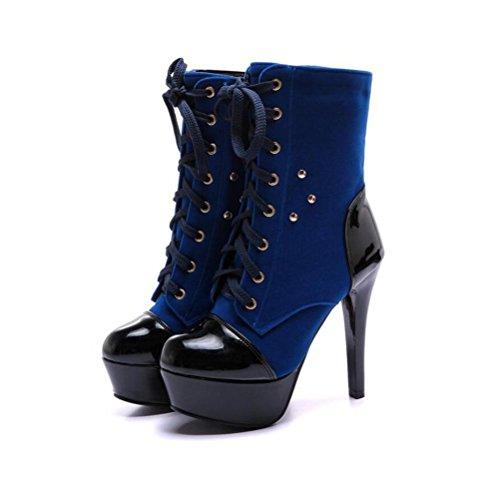 Avant Grande Strap High Super Bottes Taille Imperméable Latérale Court blue Heeled Dames Bottes Femmes Glissière BOTXV Stiletto Martin Heel Fine Femelle vw6xqFp4nP