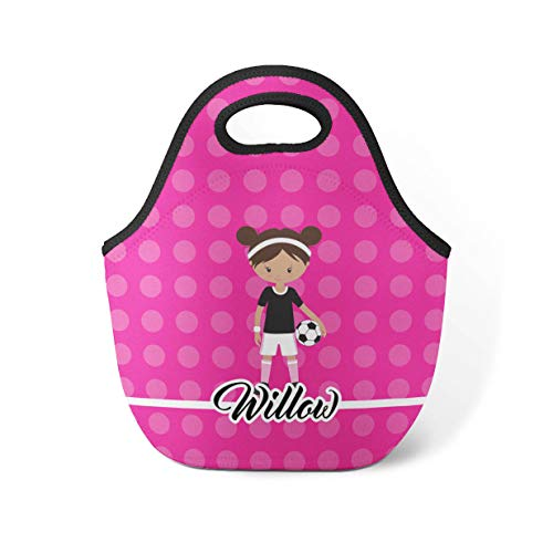 Pink Polka Dot Tote - Soccer Girl Lunch Tote - Pink Polka Dot Sports Lunch Bag, Soccer Neoprene Personalized Lunch Tote Bag, You Pick Girl - Kid Personalized Gift