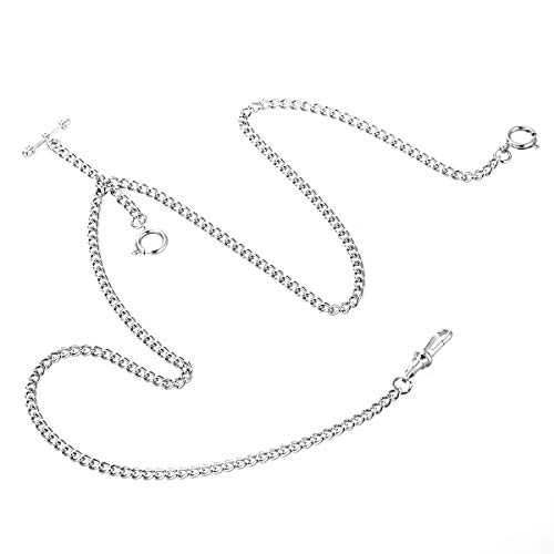 ManChDa Pocket Watch Double Albert Chain T-Bar Watch Chain Link 16 inch 3 Hook Champagne Silver Gorgeous