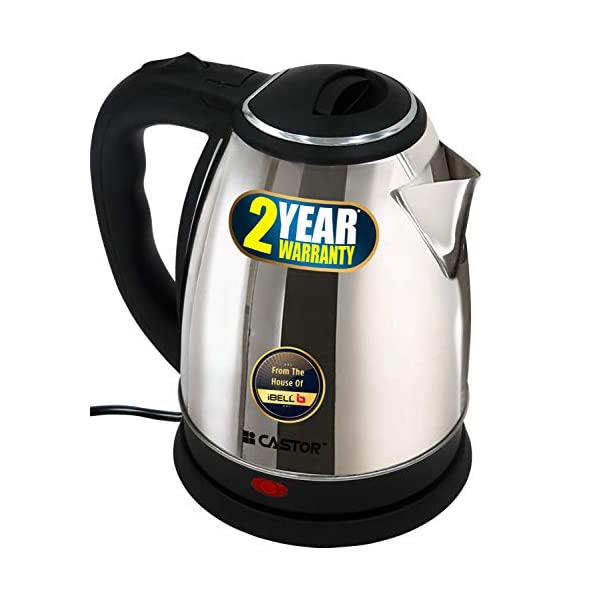 iBELL Castor EK180L Premium 1.8 Litre Stainless Steel Electric Kettle,1500W Auto Cut-Off Feature,Silver with Black