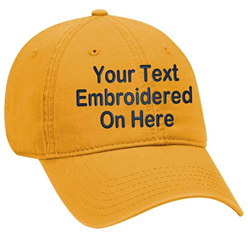 (Custom Text Embroidered Dad Hat. Unstructured Adjustable Metal Buckle (Yellow Gold Dad Hat))