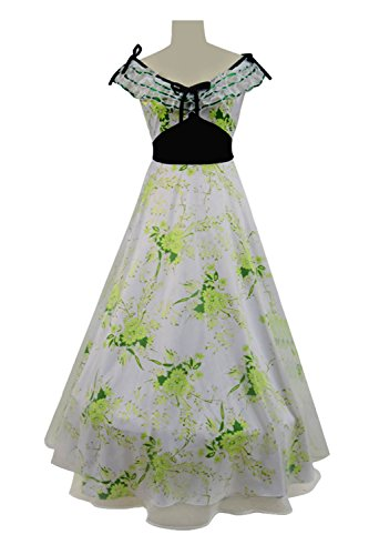 (Expeke Scarlet Costume Gone Wind Dresses with Scarf for Women Green Curtain Dress (L,)