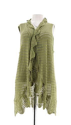Liz Claiborne Women Clothing - Liz Claiborne NY Knit Vest Hand Crochet Trim A272813, Moss, L
