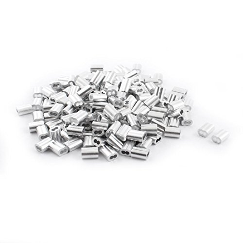eDealMax 200 pièces en Aluminium Hourglass Manches 3 mm x 12 mm Pour 2,5 mm Câble métallique