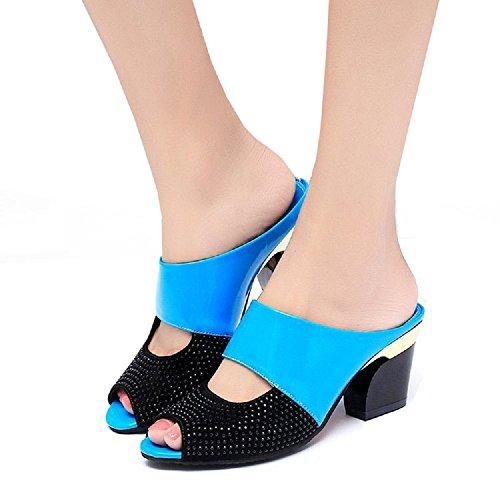 Sandalias de Mujer Color Caramelo Peep Toe Zapatillas de Tacón Medio Sandalias de Diamantes de Imitación Blue