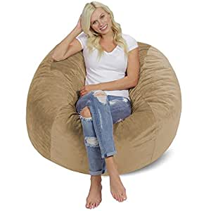 Chill Sack Bean Bag Chair: Giant 4' Memory Foam Furniture Bean Bag - Big Sofa with Soft Micro Fiber Cover - Tan Pebble