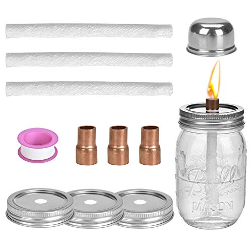 Browill [3 Packs] Mason Jar Tabletop Torches Set, Oil Lamp Lights 3 Longlife Fiberglass Wicks, 3 Mason Jar Lids(2.75-inch), 3 Coupling Reducer Teflon Cap, for Tiki Torch Kits Outdoor Backyard Decor