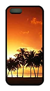 Sunset Beach Palm Tree Theme Case for IPhone 5/5s Rubber Material Black
