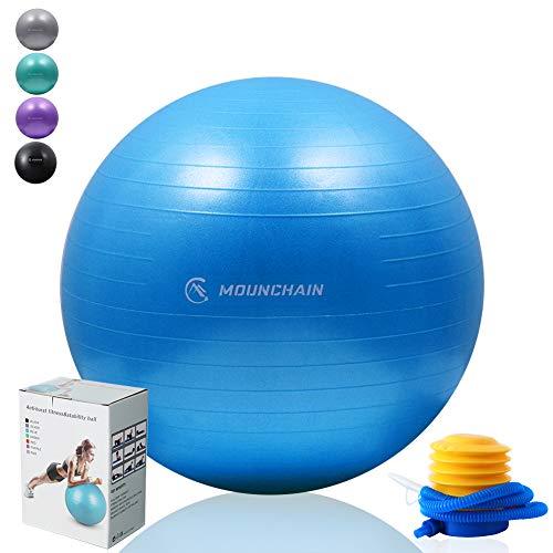 Mounchain Yoga Ball for Fitness, Exercise Ball 2000lbs Anti Burst Equipment for Home Workout, Balance, Gym, Yoga, Desk Chairs (Blue, 65cm)