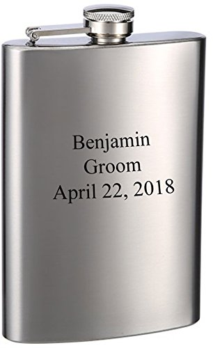 - Laser Engraved 8oz Wedding Flask - Front and Back