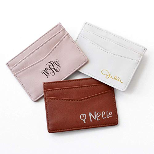 Personalized PU Leather Cardholder, Slim Leather Wallet with Custom Monogram or Handwriting