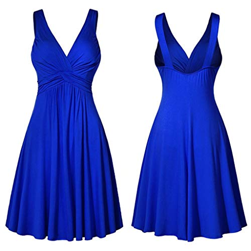 HIRIRI Women's Large Size Sexy V-Neck Backless Sling Pleated Slim Flare Skirt A-Line Dress Large Swing Dress -