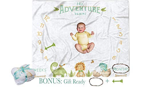Monthly Milestone Blanket Boy Dinosaur - Baby Growth Blanket Boy Month Milestones for Baby Boy Memory Infant First Year Blanket with -