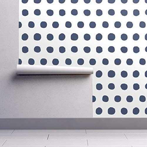 (Peel-and-Stick Removable Wallpaper - Decor Dots Decor Navy Blue White Polka Dots Decor Polka Dots Retro by Domesticate - 24in x 60in Woven Textured Peel-and-Stick Removable Wallpaper Roll)