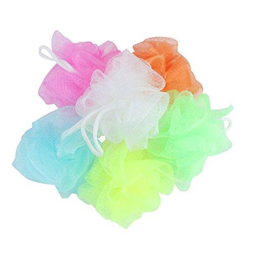 S&M TREADE-3pc Set Bath Shower Body Exfoliate Sponge Puff Mesh Net Ball Bubbles Lather Foam (Body Fiberglass Complete Power)