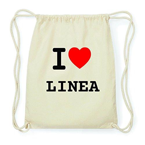 JOllify LINEA Hipster Turnbeutel Tasche Rucksack aus Baumwolle - Farbe: natur Design: I love- Ich liebe