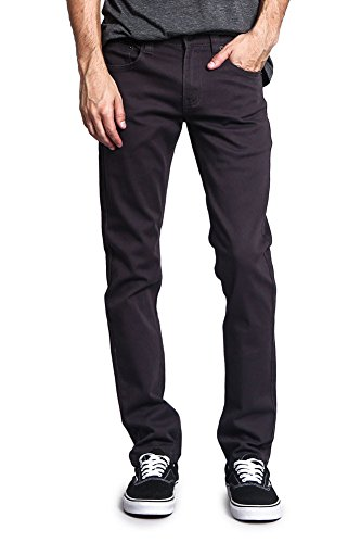 Victorious Men's Skinny Fit Color Stretch Jeans DL937 - Charcoal - 32/34