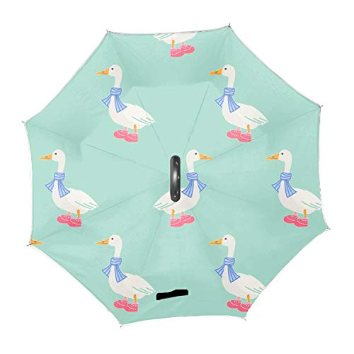Ducks In Scarf Winter Pattern Inverted Umbrella,Double Layer Reverse Umbrella for Car and Outdoor Use by, Windproof UV Protection Big Straight Umbrella ()
