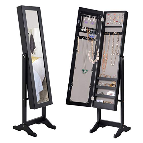 Giantex Jewelry Armoire Cabinet Organizer Storage Mirrored Stand with 4 Shelves for Makeup 18 Necklace Hooks 56 Rings 20 Earrings Slots Non Lockable Wood Standing Jewelry Armoire with Mirror (Black)