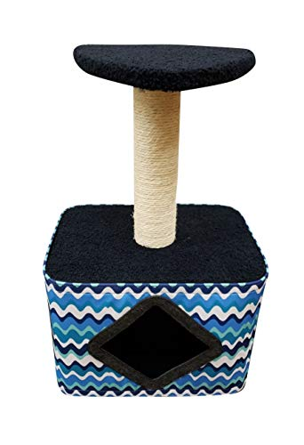 Pet Laugh Cat Tree with Cat House – Cat Scratching Post Made with Pinewood, Comfortable Fabrics, and Natural Sisal- Blue Wave