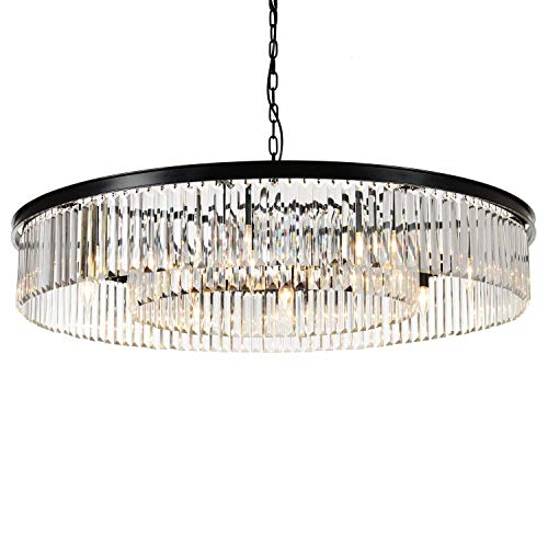 MEEROSEE Crystal Chandeliers Modern Chandelier Island Lighting 12 Lights Raindrop Pendant Ceiling Light Fixture for Dining Room Living Room Kitchen Bedroom W43.31 Black Frame Base