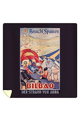Bilbao Vintage Poster (artist: Guezala) Spain c. 1929 (88x88 Queen Microfiber Duvet Cover) by Lantern Press