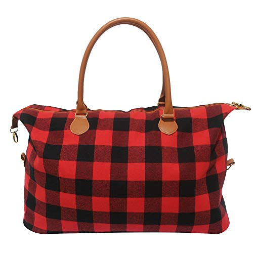 Buffalo Plaid Weekender Travel Bags Duffel Tote Bag Overnight Traveling Bag (Red Buffalo Plaid)