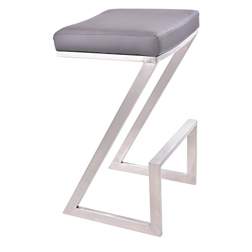 Armen Living LCAT26BAGR Atlantis 26 Counter Height Barstool in Grey Faux Leather and Brushed Stainless Steel Finish