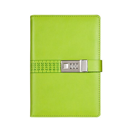 JunShop PU Leather Journals Note books Secret Diary with Lock Password Lined , Locking Journal Diary (Green) by JunShop