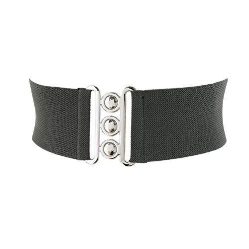 FASHIONGEN - Wide Waist Elasticated Woman Belt Made in France, GLORIA - Dark grey, 2XL / pants 13 to 18