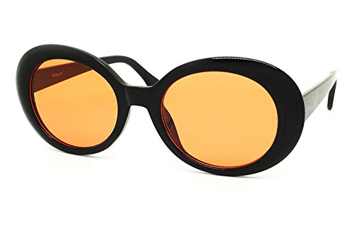 O2 Eyewear SA122 Original Classic Dark Mod Round Pop Oval Lens Kurt Cobain Nirvana Bold Retro Vintage Sunglasses (Kurt Cobain, BLACK/ORANGE)
