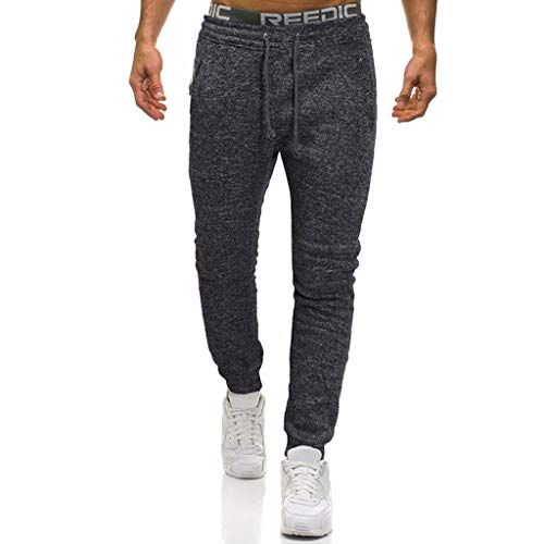 Legs Birthday Bath (Gallity Men Casual Solid Overalls Drawstring Sport Work Trouser Long Pants Stretch Leggings with Pocket (2XL, Dark Gray))