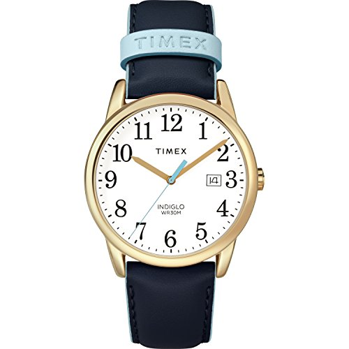 Timex Women's TW2R62600 Easy Reader 38mm Blue/Gold-Tone Leather Strap (Timex Womens Fashion Watch)