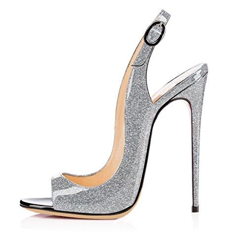 EDEFS Femmes Artisan Fashion Ouverts Sandales 19538 Décolletés Bout Ouverts Chaussures Chaussures à Talon Haut de 120mm Noir Briller-Argent 09f48b2 - shopssong.space