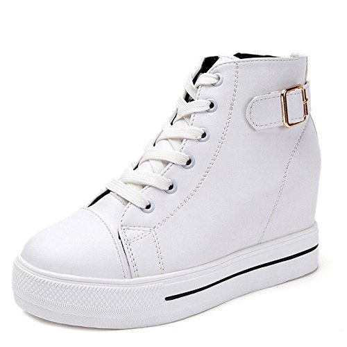CYBLING Casual Women Hightop Platform Wedge Sneakers with Hidden High Heels Lace Up Walking Shoes White EXnDK
